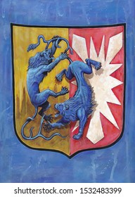 German Coat of arms Schleswig Holstein. Heraldic illustration with blue lions. Stylized Coat of arms.