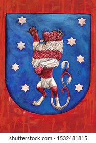 German Coat of arms Thuringia. Heraldic illustration with lion. Stylized Coat of arms.