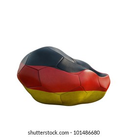 german deflated soccer ball isolated on white