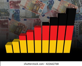 German flag bar chart over euros 3d illustration