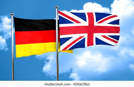 German flag with Great Britain flag, 3D rendering