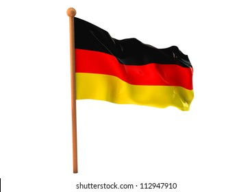 German flag waving on white background. 3D image