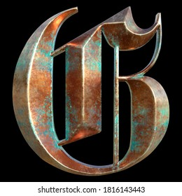 German gothic alphabet. Сollection of copper signs with oxidation - letter G. Grunge style. Isolated on black background. 3d illustration.