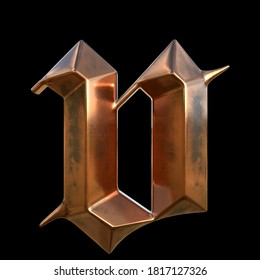 German gothic alphabet. Сollection of copper signs with oxidation - letter v. Grunge style. Isolated on black background. 3d illustration.