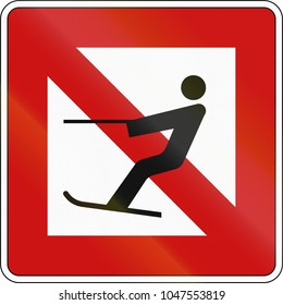 German inland water navigation sign - Water skiing is prohibited.