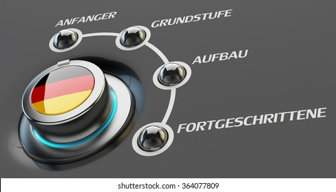 German language courses, learning and education concept, switch knob button with Germany national flag and skill levels of proficiency