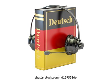 German language textbook with headset, learning and translate concept. 3D rendering
