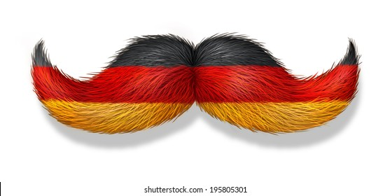 German mustache symbol with the flag of Germany as an icon of a European macho male culture and concept for oktoberfest or restaurants and cuisine on a white background.
