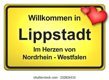 German road sign with the city Lippstadt