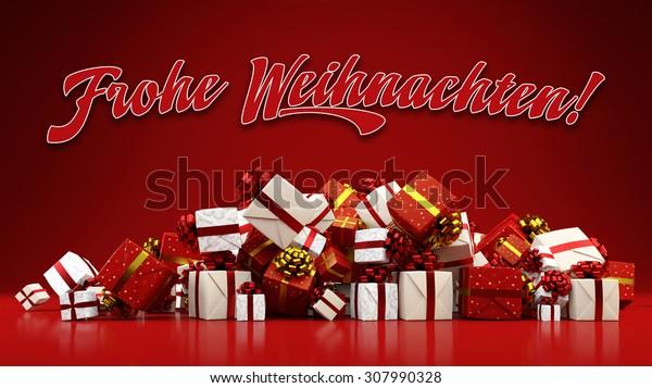 Frohe Weihnachten 3d.German Slogan Frohe Weihnachten Merry Christmas Stock Illustration
