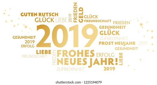 "German slogan ""frohes neues Jahr"" (happy new year) on white Background"