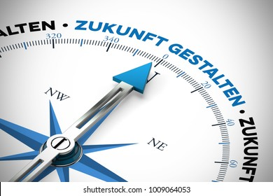"German slogan ""Zukunft gestalten"" (shaping future) on compass as business success concept (3D Rendering)"