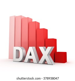 German stock inex DAX is falling. The collapse of the German stock market. Acronym DAX against the red falling graph. 3D illustration picture