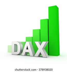 German stock inex DAX is growing. The bullish trend of the German stock market. Acronym DAX against the green rising graph. 3D illustration jpeg