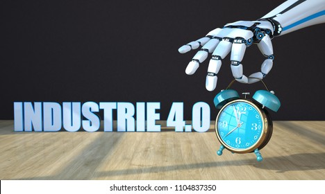 German text Industrie 4.0, translate Industry 4.0. 3D illustration.