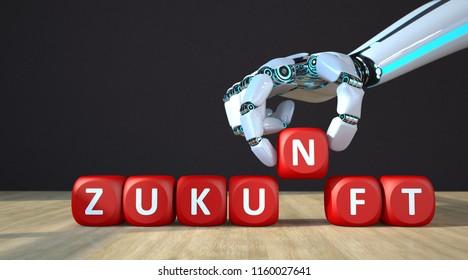German text Zukunft, translate Future. 3d illustration.