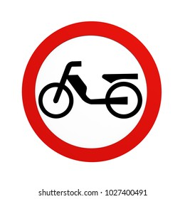 German traffic sign (prohibition of traffic): ban on mopeds, in front view, isolated on white.