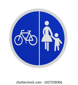 German traffic sign (special path): separate cycle and sidewalk, isolated in white on the front.