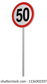 German traffic sign: speed limit 50 km / h, isolated on white, 3d rendering