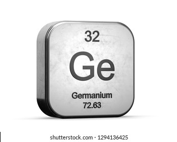Germanium element from the periodic table series. Metallic icon 3D rendered on white background