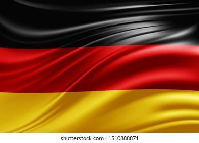 Germany flag of silk -3D illustration
