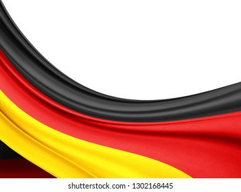Germany   flag of silk with copyspace for your text or images and white background-3D illustration