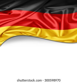 Germany flag of silk with copyspace for your text or images and white background