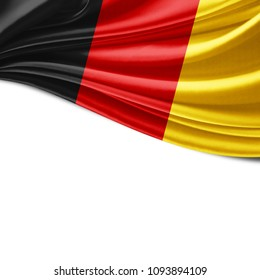 Germany flag of silk and white background-3D illustration