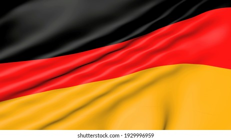 Germany flag waving in 4K. Animated Symbol of the country in 3d. Movement of the fabric with symbol of country UK.