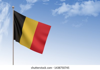 Germany Flag Waving with blue sky, 3D illustration, Germany day concept,3d render