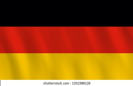 Germany flag with waving effect, official proportion. Raster copy.