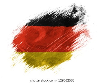 Germany. German flag  painted with brush on white background