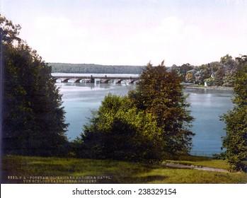 Germany, Gleinicker Bridge, from Babelsberg, Potsdam, Berlin, photochrom, ca 1900.