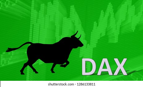 Germany - JAN. 2019: The German blue chip stock market index DAX is going up. Behind the word Dax is a black bull silhouette with horns pointing to a green ascending chart; a bullish stock market.