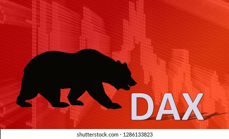 Germany - JAN. 2019: The German blue chip stock market index Dax is falling. Behind the word DAX is a black bear silhouette looking down on a red descending chart, symbolizing a bearish stock market.