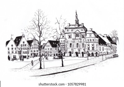 Germany, Luneburg. Stint Market square with town hall. Urban Sketch.