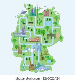 Germany map, with cities, illlustration
