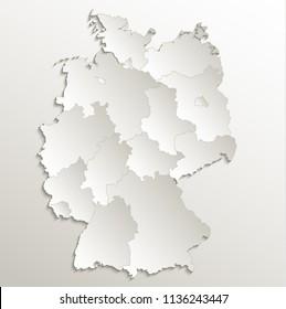 Germany map separate region individual blank card paper 3D natural raster