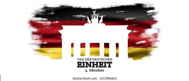 Germany National Holiday. German flag with white background, Brandenburger Gate and National colors. Unification. Text: Unity Day Germany (in German)