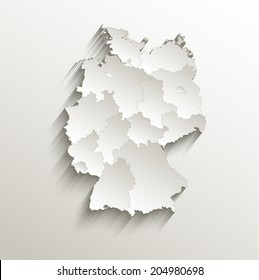 Germany political map card paper 3D natural raster individual states separate