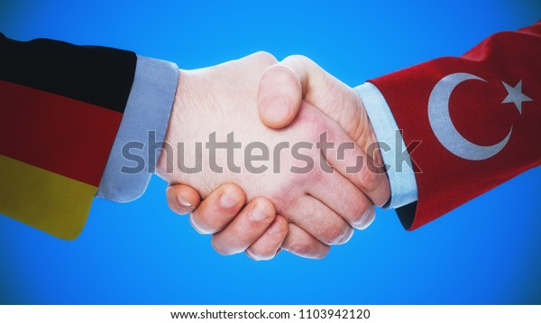 Germany -Turkey  / Handshake concept about countries and politics