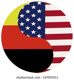 Germany and USA. Symbol for the partnership and ties between the two countries