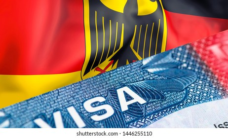 Germany Visa Document, with Germany flag in background, 3D rendering. Germany flag with Close up text VISA on USA visa stamp in passport.Visa passport stamp travel Germany business