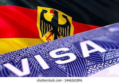 Germany Visa in the passport, 3D rendering. Travel to Germany concept - selective focus. Closeup Visa to The Germany focusing on the word VISA. Travel Germany visa in passport close-up multi entrance