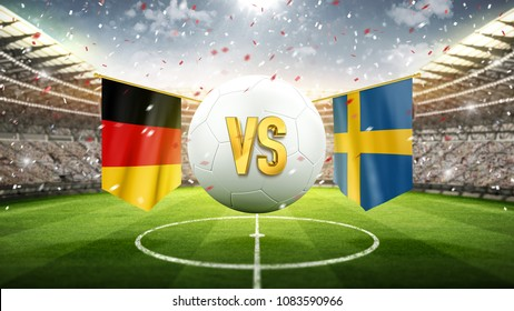 Germany vs Sweden. Soccer concept. White soccer ball with the flag in the stadium, 2018. 3d render