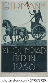 Germany--XIth Olympiad Berlin 1936. Poster depicts a profile view of the 'quadriga', the chariot drawn by four horses, based on the sculpture group on the Brandenburg Gate.