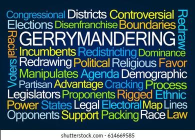 Gerrymandering Word Cloud on Blue Background