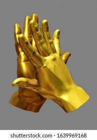 Gesture of team success, clapping hands in gold. 3d illustration