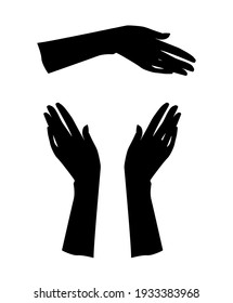 Gestures. Graceful hand of a woman. Graphic silhouette drawing illustration.