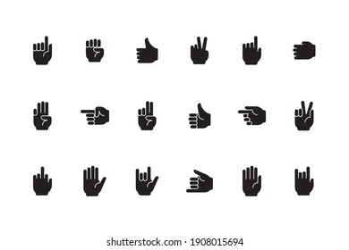Gestures symbols. Human hands palm fingers zero one devil sign victory like gestures collection